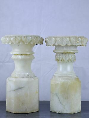 Pair of antique English display stands in alabaster