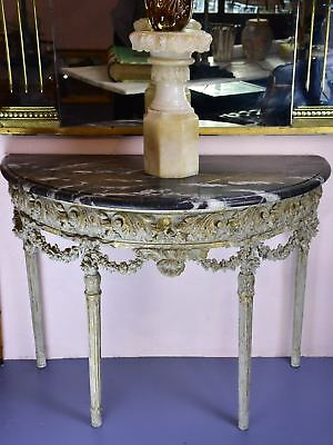Louis XVI demilune console with black marble top