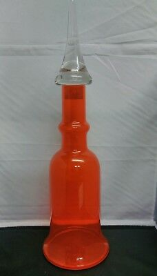 Vintage Large Hand Blown Orange Decanter Genie Bottle With Clear Stopper.