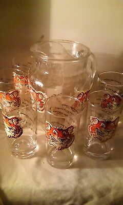 Vintage 1960's Esso Multi-language Drinking Pitcher With 6 Tiger Glasses