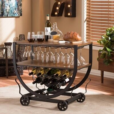 Industrial Bar Cart Rolling Wine Serving Carts With Wheels Home Bar