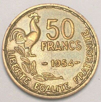 1954 France French 50 Francs Rooster Coin XF