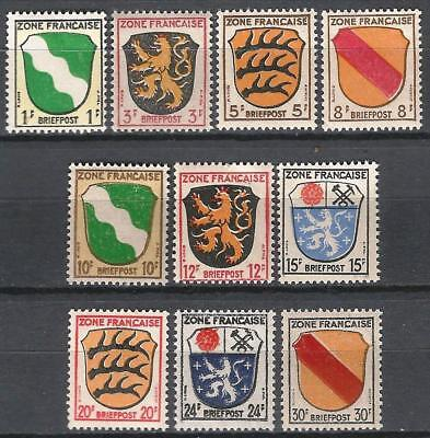 Germany Allied Occupation 1945 MNH French Sector Part Set incl. 10Pf Mi-5 SG F5