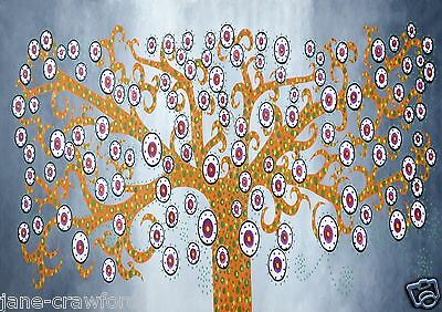 Satin poster original Kurrajong Tree Jane Crawford Print Painting aboriginal