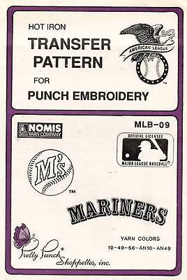1980's VTG Punch Embroidery Mariners Transfer Pattern MLB-09