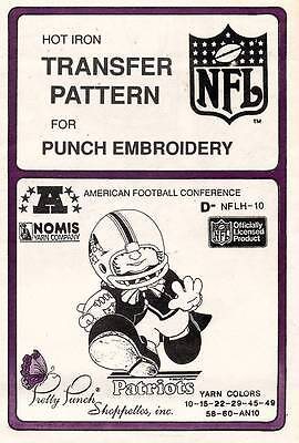 1980's VTG Punch Embroidery Patriots Transfer Pattern D-NFLH-10
