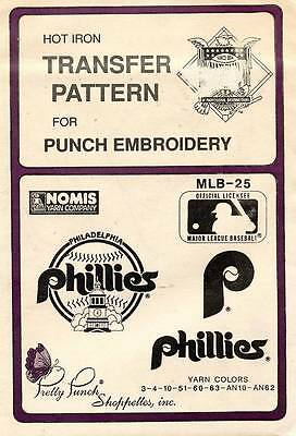 1980's VTG Punch Embroidery Phillies Transfer Pattern MLB-25
