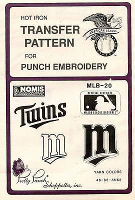 1990's VTG Punch Embroidery Twins Transfer Pattern MLB-20