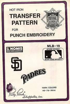 1990's VTG Punch Embroidery Padres Transfer Pattern MLB-19