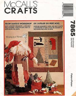 McCall's Workshop Santa,Christmas Ornaments,Quilt Wall Hanging Pattern 7865