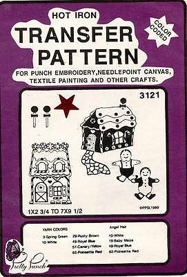 1980's VTG Pretty Punch Embroidery Gingerbread House Transfer Pattern 3121