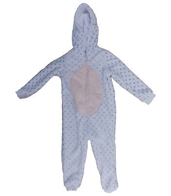 White spotted With Pink Tummy Kids Fleeced Zip Up All-in-one
