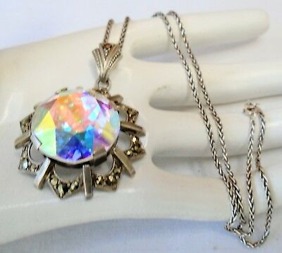 Superb large vintage sterling silver, a.b crystal & marcasite pendant + chain