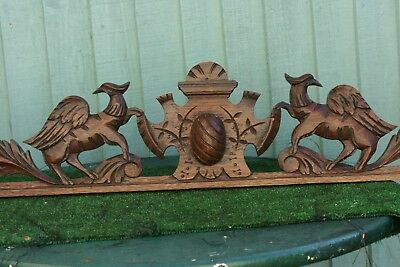 SUPERB 19thC GOTHIC WOODEN OAK PEDIMENT WITH WINGED GARGOYLES & OVAL c1880s