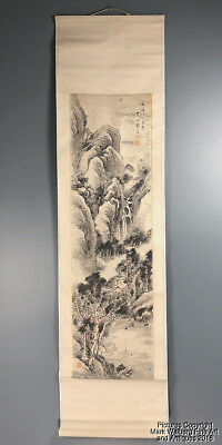 Chinese Scroll Painting on Paper, Landscape, Man in Boat, Calligraphy, Seal Mark