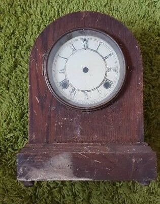 Vintage waterbury wooden empty mantle clock case - needs tlc rare item