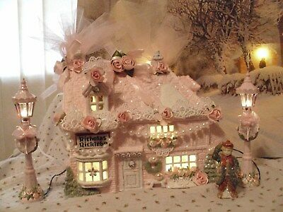 4 Pc Shabby Chic Pink Victorian Christmas Village House,lights,tree,lamp Posts