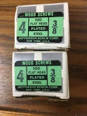 """Lot Of 2 Boxes Jefferson   #4 X 3/8"""" FH SLOTTED Wood Screws 100 Per Box"""