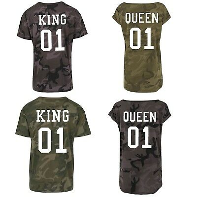 King Queen Camouflage Camo T Shirts Matching Family Parent Child His