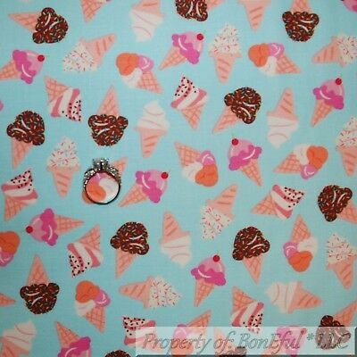 BonEful FABRIC Cotton Quilt Blue Pink Girl Little ICE CREAM Waffle Cone 3D SCRAP