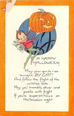 c.1920 Elf & Jack O'Lantern Halloween post card as is Whitney