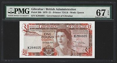 1979 Gibraltar 1 Pound, PMG 67 EPQ SUPERB GEM UNC, P-20b 2nd Finest Score, Rare