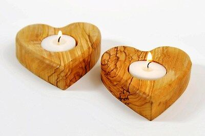 2 Heart Shaped Olive Wood Candle Holders Votive Home Decor Tea Lights Wooden NEW
