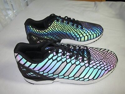 10bf81ca232a6 Adidas ZX FLUX XENO REFLECTIVE BLACK PRE OWNED SZ 10.5 B24441 Mens Prism