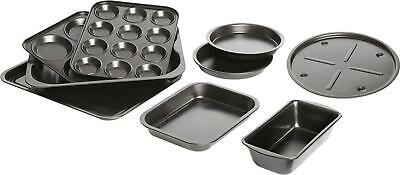 Bakeware Baking Set 9 Piece Home Non-Stick Steel Tins Pizza Tray To Loaf Tin NEW