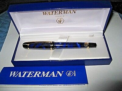 Waterman Blue Marbled Rollerball Pen In Original Box With Paper Beautiful Mint