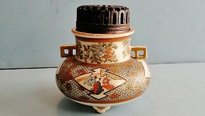 Fine Antique Japanese Satsuma Pottery Tripod Koro Incense Carved Lid Meiji 1880