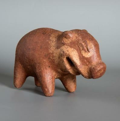 Pre-Columbian pottery rattle in the form of a pig: Costa Rica: Diquis culture.