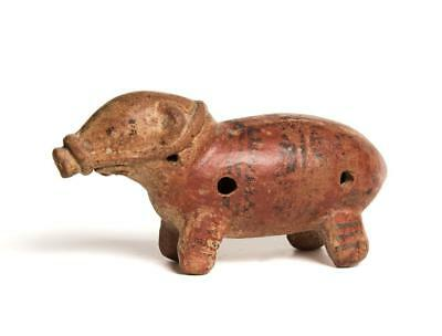 Pre-Columbian pottery flute in the form of a tapir: Costa Rica: Diquis culture.