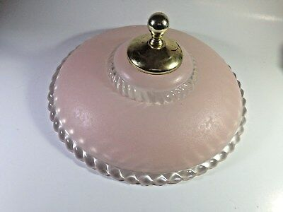 Vintage mid-century or earlier ceiling light fixture frosted pink Round