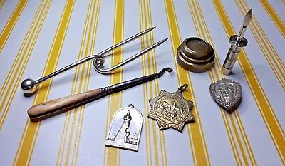 Mixture Of Vintage Eclectic  Curios. Rscpa Medal. Brass Weights Plus