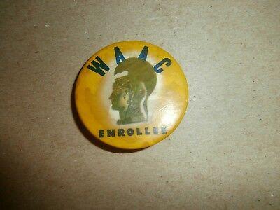 Vintage  Wwii Women's Army Auxiliary Corps Waac Enrollee Pinback Wac