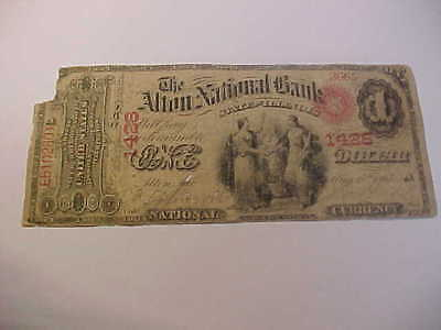 1865 Original Series $1 National Currency Banknote Charter 1428 Alton, Illinois
