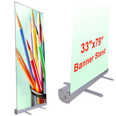 "Exhibition Display Retractable Roll Up Banner Stand Aluminum 33""x79"" Black Bag"