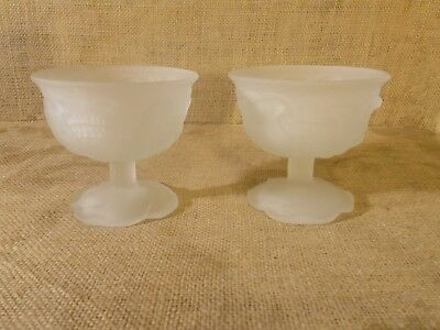 Set of (2) Avon Flowerfrost Collection Sherbet Glass and guest soaps - vintage