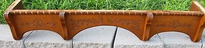 "SHELL CARVED ANTIQUE VICTORIAN SOLID OAK PEDIMENT WINDOW DOOR VALANCE 44 1/2"" w"