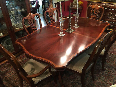 Mahogany Dining Room Wood Inlaid Table with Leaves and 6 Chairs