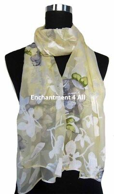 """Blue//Golden New Stunning 60/""""x20/"""" 100/% Pure Silk Floral Sheer Scarf Shawl Wrap"""