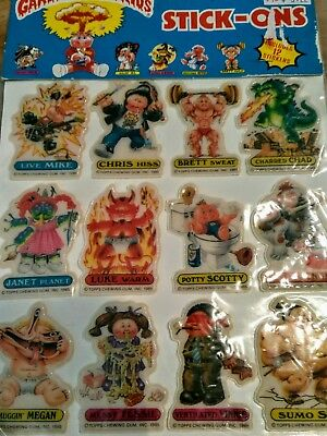 "1986 (Topps) ""GARBAGE PAIL KIDS"" (Stick-Ons) 12 ""PUFFY STICKERS"" NOS sealed"