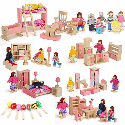 Wooden Furniture Dolls House Family Miniature 6 Room Set Doll Toy Game Kid Child
