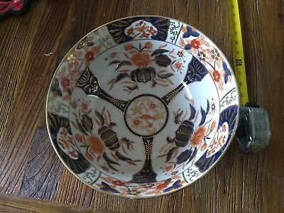 "Large 19th Japanese Imari Punch Bowl 12"" Gold Accents"