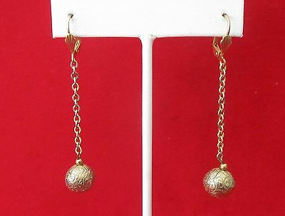 Pair of  2 1/2-Inch Antique  Brass Earrings