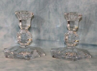 "Pair 5"" Tall Crystal Candlesticks Val St Lambert Gardenia pattern No Damage No R"