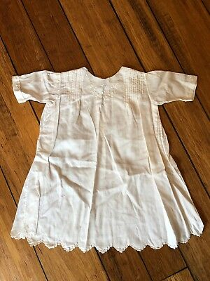Antique Vintage Handmade Baby Christening Gown White Dress 100+ yrs old 20""