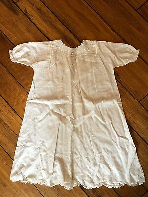 Antique Vintage Handmade Baby Christening Gown White Dress 100+ yrs old 25""