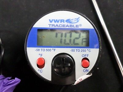 VWR Traceable Full-Scale Digital Probe Thermometer C°/F° 10ft Cable 37000-424